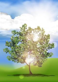 Illustration vectorielle de belles collines vertes avec grand arbre et montagnes à l'horizon. paysage d'été de collines de campagne.