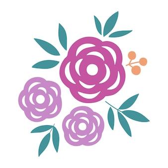Illustration vectorielle de belles fleurs colorées floral handdrawn isolé sur blanc