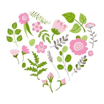 Illustration vectorielle de belles fleurs et plantes en coeur.