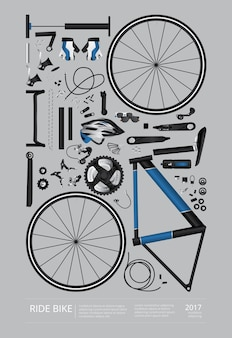 Illustration vectorielle de bicyclette assemblée affiche publicité