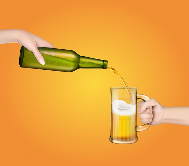 Illustration vectorielle d'une bière d'orge froide versant d'une bouteille dans un verre transparent.