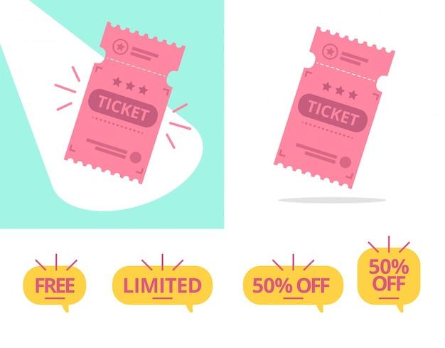 Illustration vectorielle de billet offre définie avec collection de tag gratuit, limité et 50% de réduction.