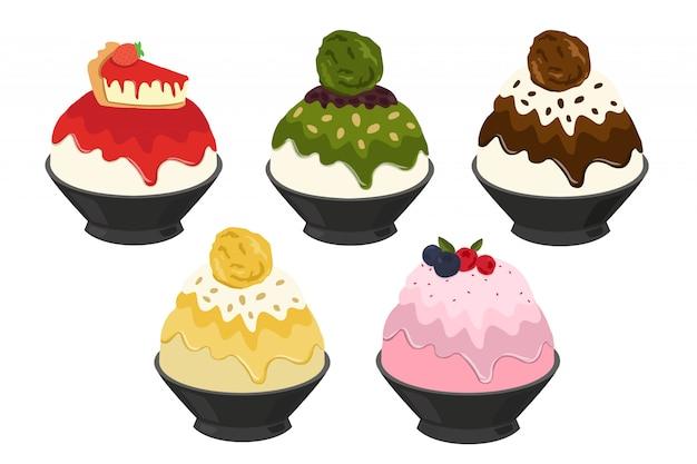Illustration vectorielle de bingsu, dessert coréen et thaïlandais le plus populaire