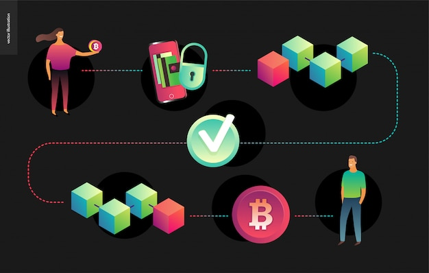 Illustration vectorielle de blockchain concept