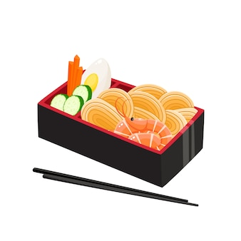 Illustration vectorielle de boîte à bento japonaise traditionnelle isolée