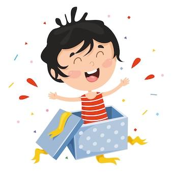 Illustration vectorielle de boîte-cadeau pour enfant