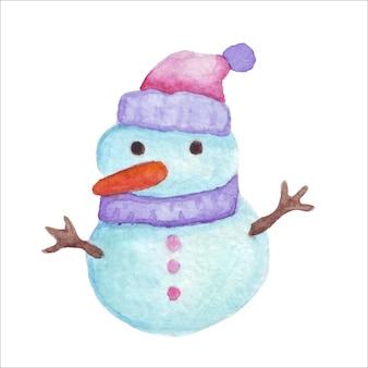 Illustration vectorielle de bonhomme de neige aquarelle