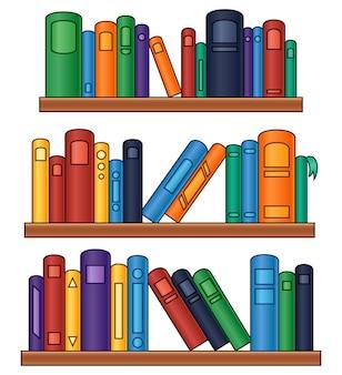 Illustration vectorielle de bookshelf avec des livres colorés