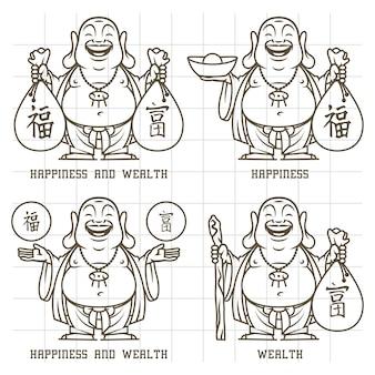 Illustration vectorielle, bouddha donne doodle richesse et bonheur, format eps 10