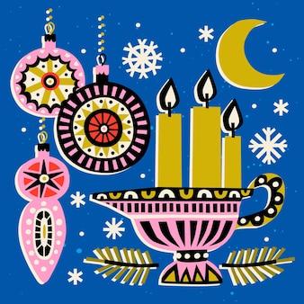 Illustration vectorielle avec des bougies allumées et des jouets de noël