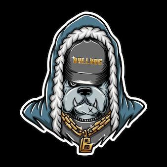Illustration vectorielle de bouledogue rap