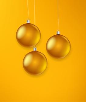Illustration vectorielle de boules de noël en verre doré mat.