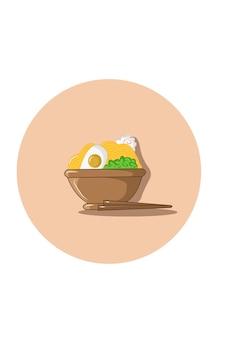 Illustration vectorielle de boulette de nouilles