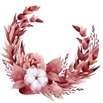 Illustration vectorielle, bouquet aquarelle avec des feuilles et des fleurs tropicales