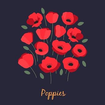 Illustration vectorielle de bouquet de coquelicots rouges aromatiques et de feuilles vertes sur fond bleu foncé