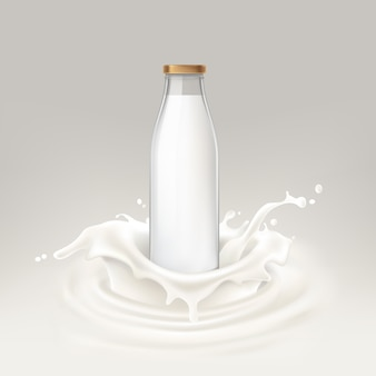 Illustration vectorielle bouteille pleine de lait