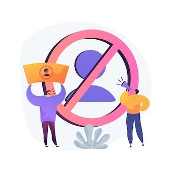 Illustration vectorielle de boycott concept abstrait. programme politique, activisme des consommateurs, comportement collectif, culture d'annulation, achat moral, action de solidarité, métaphore abstraite de la protestation publique.