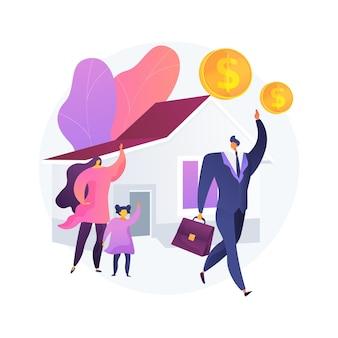 Illustration vectorielle de breadwinner concept abstrait. gagnez de l'argent, travaillez à la maison, homme d'affaires mari, père mère qui travaille, la famille a besoin de soutien, travail indépendant, métaphore abstraite de la femme au foyer.