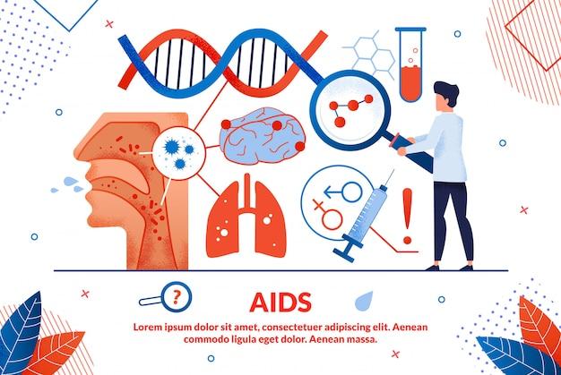 Illustration vectorielle de brillante affiche inscription sida
