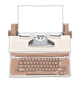 Illustration vectorielle de brown vintage electric typewriter