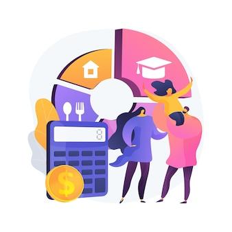 Illustration vectorielle de budget familial planification abstraite concept. meilleures décisions économiques, stratégie budgétaire personnelle, gestion des revenus et des dépenses de la famille, métaphore abstraite du plan financier des ménages.