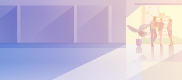 Illustration vectorielle de bureau intérieur open-space design plat. gens d'affaires debout parlant dans la salle de conférence de la salle de réunion moderne silhouette d'hommes d'affaires et de femme d'affaires près de la grande fenêtre