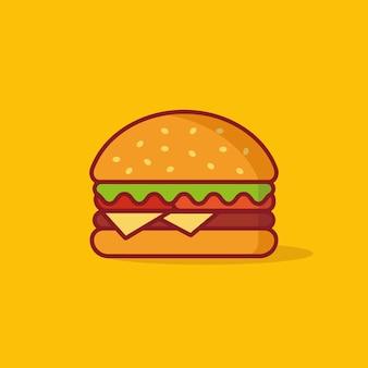 Illustration vectorielle burger, restauration rapide