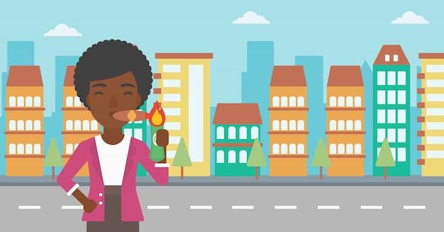 Illustration vectorielle de business femme fumer cigare.