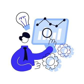Illustration vectorielle de business intelligence concept abstrait. analyse de données commerciales, outils de gestion