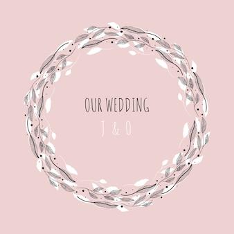 Illustration vectorielle avec cadre floral notre mariage.