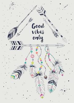 Illustration vectorielle avec cadre tribal avec des flèches ethniques et des plumes.