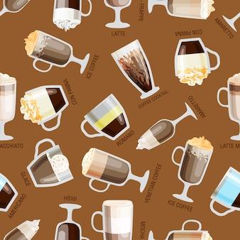 Illustration vectorielle de café sans soudure. papier peint rétro naturel de boissons chaudes. conception des aliments aromatisés au latte. restaurant de caféine décoratif.