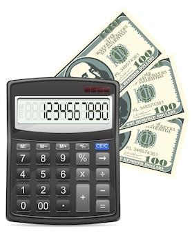 Illustration vectorielle de calculatrice et dollars concept