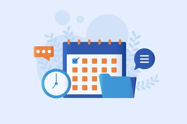 Illustration vectorielle de calendrier en ligne moderne