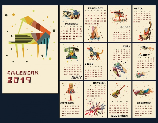 Illustration vectorielle de calendrier nouvel an 2019