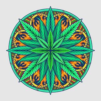 Illustration vectorielle de cannabis mandala feuille de mauvaises herbes