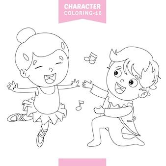 Illustration vectorielle de caractères coloriage