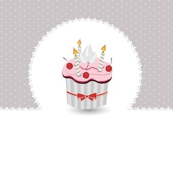 Illustration vectorielle de carte d'anniversaire avec gâteau