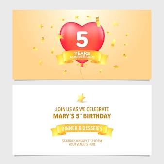 Illustration vectorielle de carte d'invitation anniversaire 5t