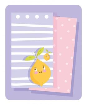 Illustration vectorielle de cartes de papier de citron de personnage de dessin animé de nutrition alimentaire mignon