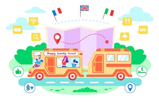 Illustration vectorielle cartoon heureux voyage en famille.