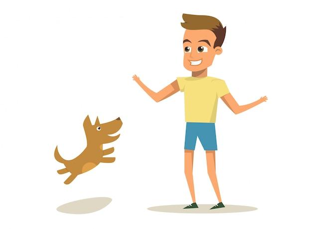 Illustration vectorielle cartoon petit chien et garçon