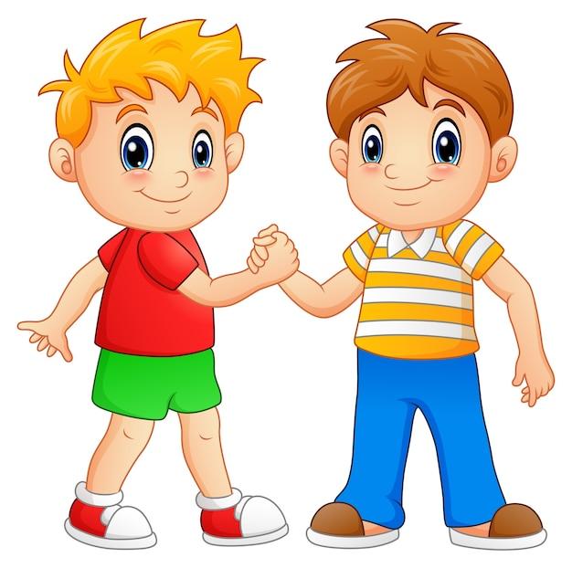 Illustration vectorielle de cartoon petits garçons se serrant la main