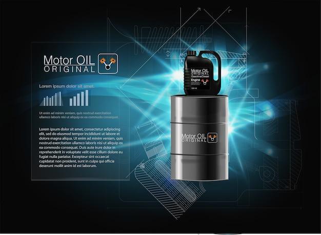 Illustration vectorielle avec cartouche réaliste et huile moteur sur fond clair. modèle 3d