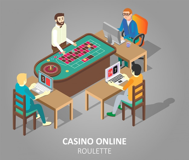 Illustration vectorielle de casino jeu de roulette en ligne