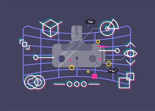 Illustration vectorielle de casque de réalité virtuelle.