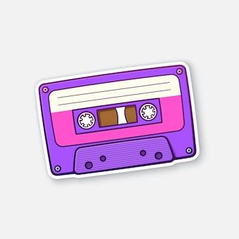 Illustration vectorielle cassette audio rétro ultra violette cassette à ruban à l'ancienne sticker