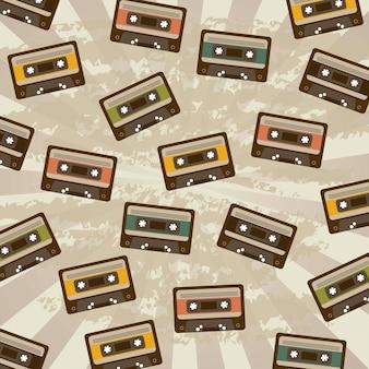 Illustration vectorielle de cassettes grunge background style vintage