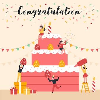 Illustration vectorielle de célébration avec un design plat.