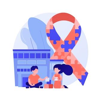 Illustration vectorielle de centre de l'autisme concept abstrait. centre d'apprentissage pour les personnes handicapées, traitement du trouble du spectre autistique, aide aux enfants ayant des besoins spéciaux, métaphore abstraite du problème du développement des enfants.